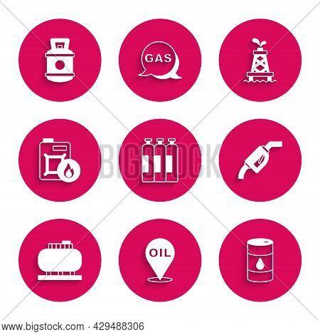 Set Industrial Gas Cylinder Tank, Refill Petrol Fuel Location, Barrel Oil, Gasoline Pump Nozzle, Oil