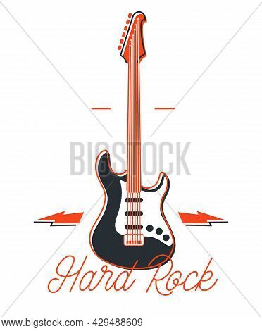 Hard Rock And Heavy Metal Emblem Or Logo Vector Flat Style Illustration Isolated, Electric Guitar Wi