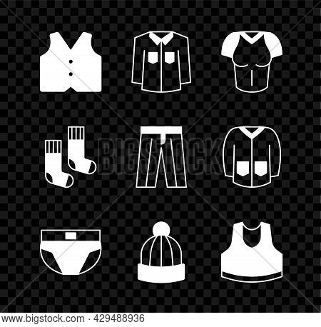 Set Waistcoat, Shirt, T-shirt, Men Underpants, Winter Hat, Undershirt, Socks And Pants Icon. Vector