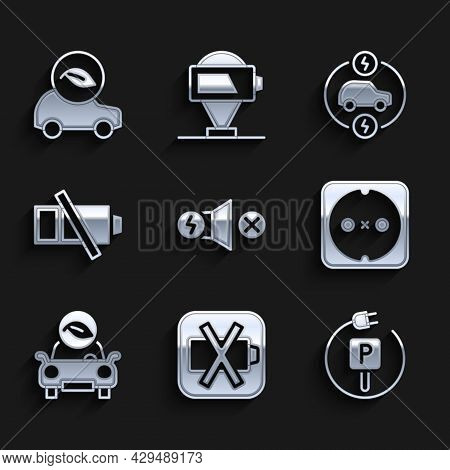 Set Electric Motor, Low Battery, Charging Parking Electric Car, Electrical Outlet, Eco, And Icon. Ve