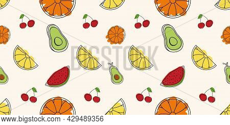 Seamless Fruit Pattern. Vector Illustration With Fruits And Vegetable. Linear Art With Orange, Lemon
