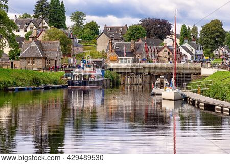 Fort Augustus, United Kingdom - August 19, 2014: The Caledonian Canal At The Loch Ness Lake. The Can