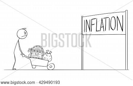 Frustrated Wealthy Man Carrying His Money Looking At Inflation Sign, Vector Cartoon Stick Figure Ill