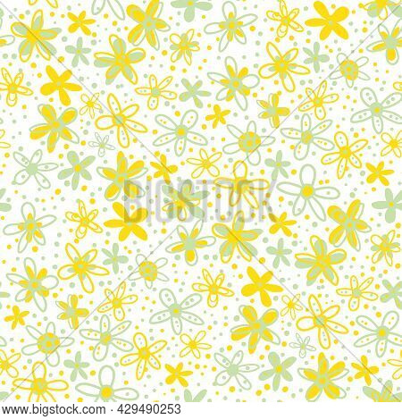 Retro Ditsy Scribbled Doodle Flower Vector Seamless Pattern Background. Dense Millefleur Style Hand
