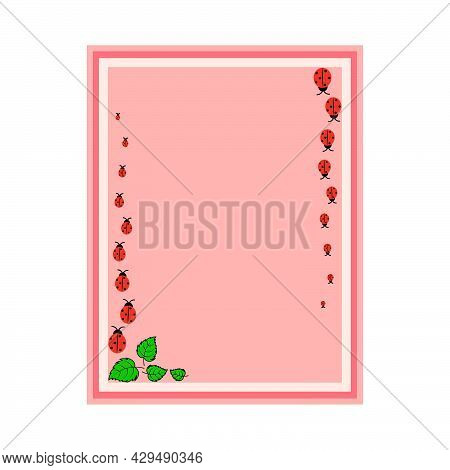 Rectangular Pink Frame With Ladybirds And Leaves.