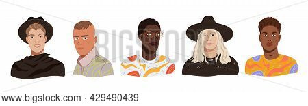 Fashion Men Portraits Avatars Set. Young Diverse Model Guys In Trendy Modern Outfits. Multicultural