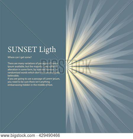 Bright Sun Rays Background. Sunshine Banner With Sunburst Sunbeams As Enlightenment Concept. Sunny V