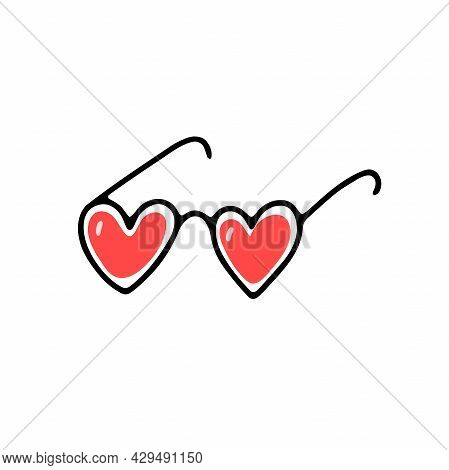 Doodle Heart Shape Glasses. Hand-drawn Cute Accessory Isolated On White Background. Pink Spectacles