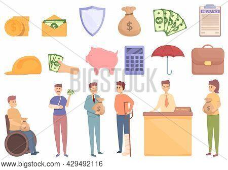 Compensation Icons Set Cartoon Vector. Pension Money. Fund Plan