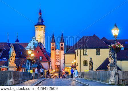 Wurzburg, Germany. Alte Main Bridge. Wurzburg's Pedestrian Bridge, Popular Place For Socialising.