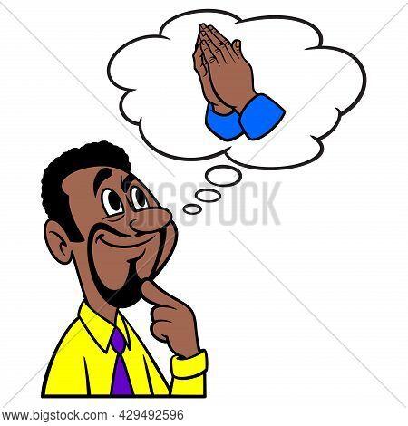 Man Thinking About Praying - A Cartoon Illustration Of A Man Thinking About Praying In Church.