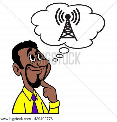 Man Thinking About Radio Broadcasting - A Cartoon Illustration Of A Man Thinking About Radio Broadca