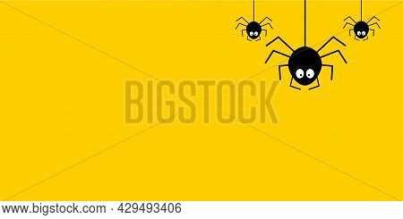 Funny Cute Black Cartoon Spider Stock Vector. Halloween Greeting Card In Paper Cut Style. Spider On