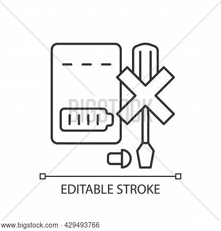 Dont Disassemble Powerbank Linear Manual Label Icon. Dont Dismantle. Thin Line Customizable Illustra