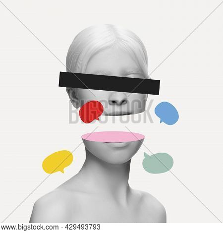 Artwork. Close-up Young Womans Split Face, Head With Social Media Signs Isolated On Light Background