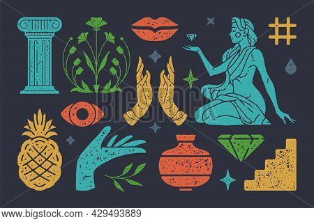 Antique Column With Boho Flower Of Eternity. Beautiful Woman In Cape Holding Diamond. Vector Witchcr