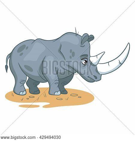 Animal Character Funny Rhinoceros In Cartoon Style. Children's Illustration.