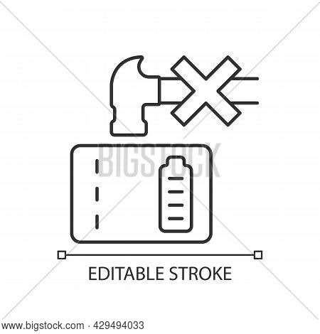 Dont Crush Powerbank Linear Manual Label Icon. Inadequate Disposal. Thin Line Customizable Illustrat