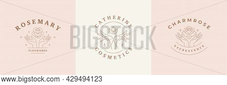 Feminine Logos Emblems Design Templates Set With Magic Woman Hands And Flowers Vector Illustrations
