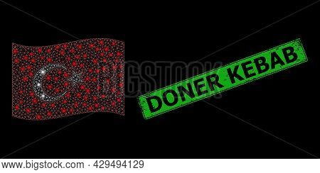 Glowing Mesh Web Waving Turkey Flag With Glowing Spots, And Grunge Doner Kebab Rectangle Stamp Seal.