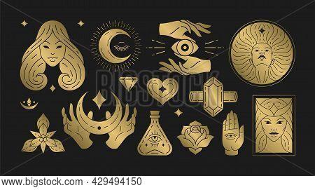 Magic Woman Boho Vector Illustrations Of Graceful Feminine Women And Esoteric Symbols Set