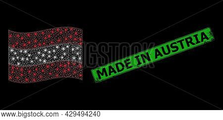 Glowing Mesh Web Waving Austria Flag With Lightspots, And Distress Made In Austria Rectangle Stamp S