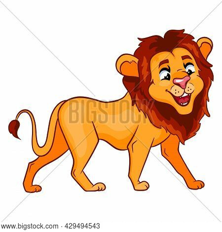 Animal Character Funny Lion In Cartoon Style. Children's Illustration.