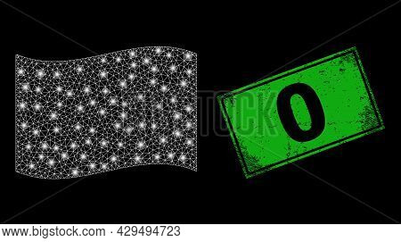 Glowing Mesh Network Waving White Flag With Glowing Spots, And Grunge 0 Rectangle Stamp. Green Recta
