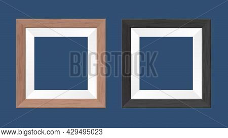 Template. A Couple Of Square Wooden Frames For Photos And Paintings. Isolated Monochromatic Backgrou