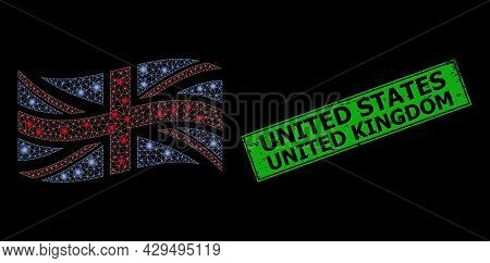 Glowing Mesh Network Waving Great Britain Flag With Light Spots, And Scratched United States United