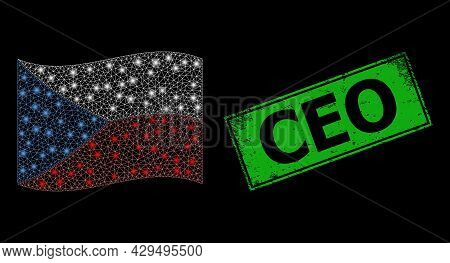 Glowing Mesh Network Waving Czech Flag With Glowing Spots, And Distress Ceo Rectangle Seal. Green Re