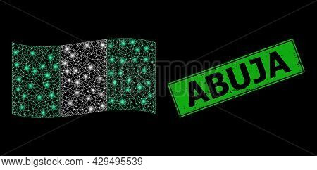Glowing Mesh Net Waving Nigeria Flag With Light Spots, And Grunge Abuja Rectangle Seal. Green Rectan