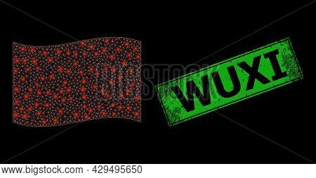 Bright Mesh Polygonal Waving Red Flag With Glowing Spots, And Grunge Wuxi Rectangle Stamp. Green Rec