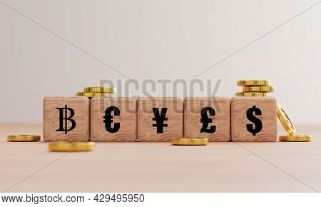 Main Global Currency Print Screen On Wooden Cube Block Such As Dollar Yen Euro Pound And Baht With G