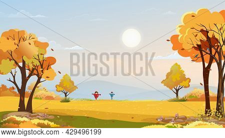 Autumn Rural Landscape In Evening Light With Sunset, Blue And Pink Sky Background,vector Cartoon Fal
