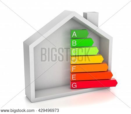 Home Energy Efficiency Rating. House And Colored Arrows Graphics. Isolated On White Background. 3d R