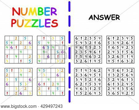 Four Colorful Sudoku Set With Answer Vector Illustration. Funny Educational Number Game For Kids. Co
