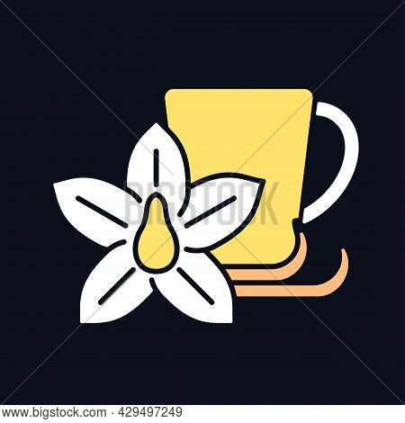 Vanilla Chai Tea Rgb Color Icon For Dark Theme. Indian Beverage. Tea Like Drink Made Of Anise And Ci