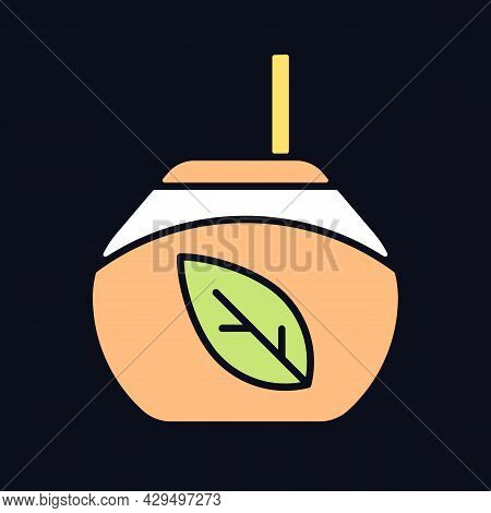 Tea Gourd Cup Rgb Color Icon For Dark Theme. Latin Beverage. Vessel For Mate Tea. Hot Drink Rich In