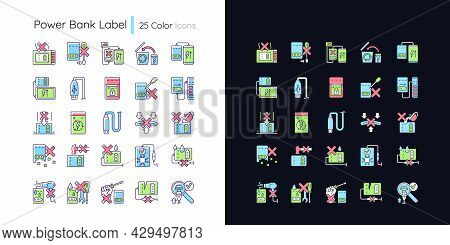 Power Bank Usage Light And Dark Theme Rgb Color Manual Label Icons Set. Isolated Vector Illustration