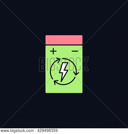 Rechargeable Lithium Polymer Battery Rgb Color Manual Label Icon For Dark Theme. Isolated Vector Ill