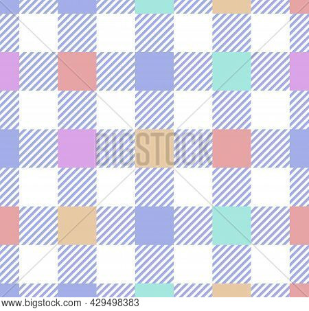 Cute Buffalo Check Pattern In Pastel Pink, Blue, Yellow, White. Concept Of Herringbone Textured Ligh
