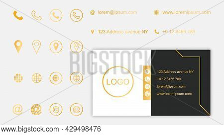 Set Of Business Card Contact Information With Icons On Grey Background. Collection Of Simple Minimal