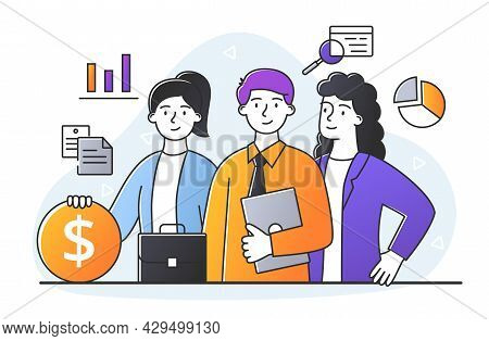 Young Male And Female Characters Are Discussing Business Topics Together In Office. A Group Of Busin