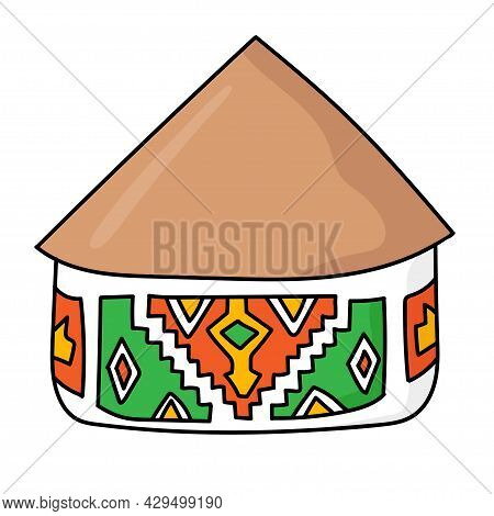 Hand Drawn Doodle African National Hut. Ndebele Tribal Dwelling. Simple Thatched Roof And Walls With