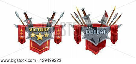 Victory Defeat Game Badge Vector Kit, Medieval Battle Award Design, Stone Panel, Spear, Sword On Whi