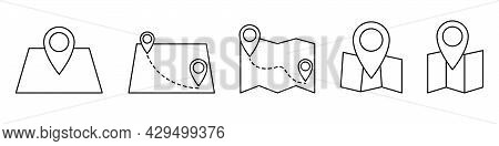 Map Icon In Linear Design. Set Of Location Map Icons. Map Pointer Icon. Gps Location Outline Icon Is