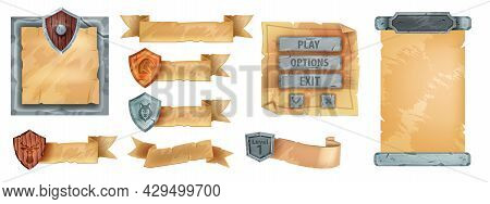 Game Ribbon Parchment Ui Set, Vector Ancient Paper Menu Frame Kit, Isolated Old Papyrus Banner. User