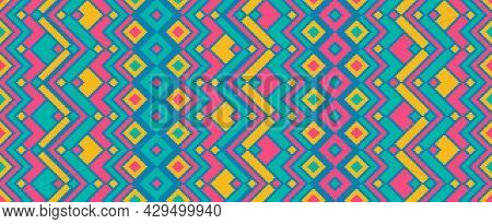 Asymmetric Rhombus Traditional Motifs Vector Geometric Pattern.