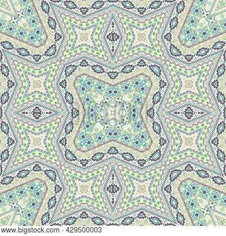 Inca Repeating Ornament Graphic Design. Arabesque Geometric Background. Scarf Print In Ethnic